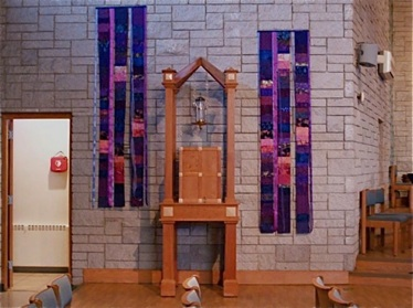 Advent Celebrate! 5' banners hung on left wall St Mathias Somerset, NJ