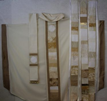 White Celebrate! banner with coordinating chasuble