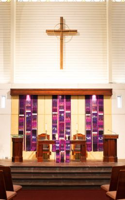 Lent Celebrate! banners  & parament First Presbyterian Church Aiken, SC