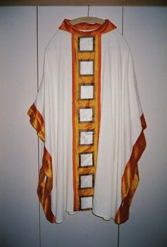 Easter Chasuble with Yellow & Orange OL of the Most Holy Rosary Albuquerque, NM