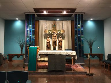 Public Chapel Banners Open for mass and private prayer Holy Family Passionist Monastery West Hartford, CT 2017