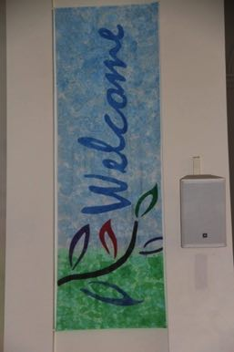 Welcome Painted & Appliqued  Silk Banner First Church West Hartford, CT 2015