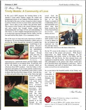 Story of the Trinity Mobile Celebrate Strips & Painted Silk Sacred Heart Southbury, CT 2014/15