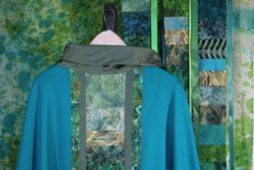 Southwest Summer Green Chasuble, Reflect! panel,  and Celebrate! banner OL of the Most Holy Rosary Albuquerque, NM